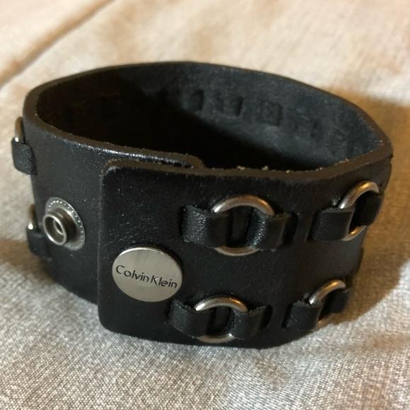 83cd4ca898b74 Unisex Black Leather Cuff Calvin Klein